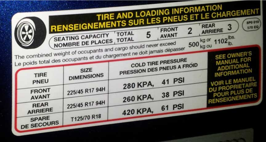 tire and loading information door placard