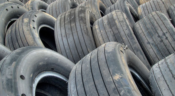 bald tires in a pile