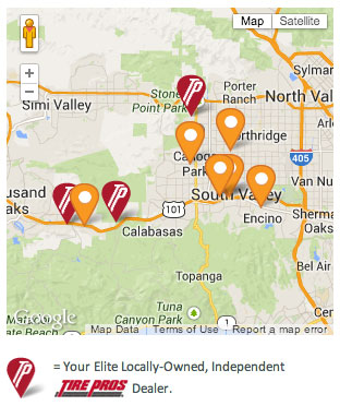 Map of Tire Pros Installers