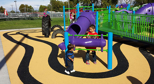 children playing at Tread Town