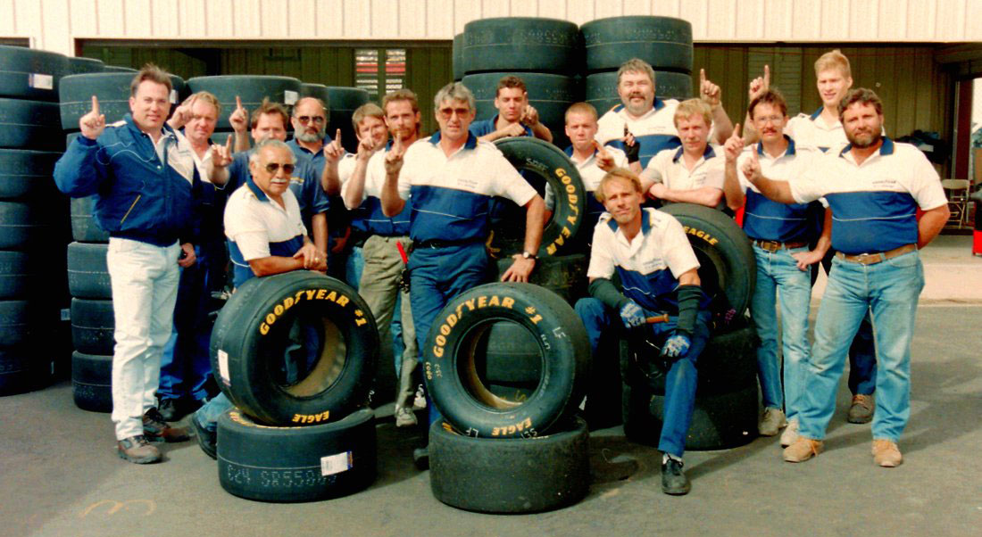 goodyear racing team with tires