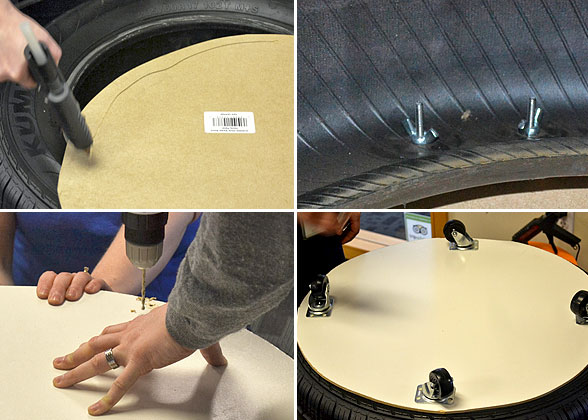 steps to adding bottom of tire ottoman