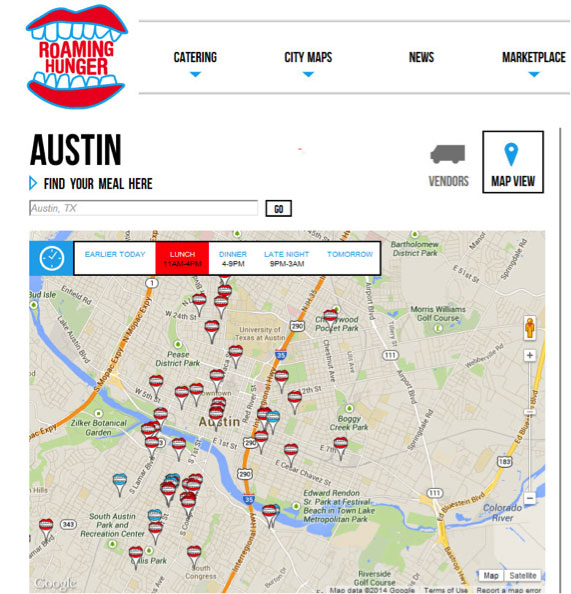 Map of Austin food trucks