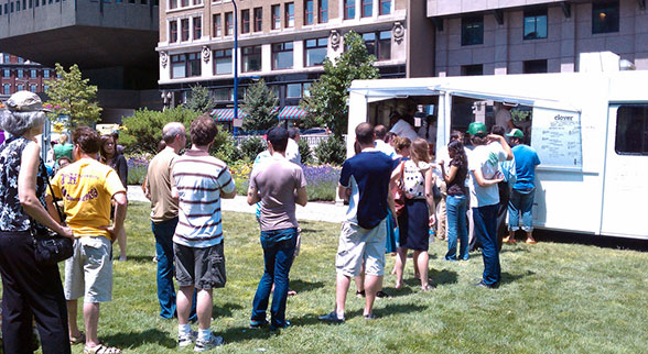 line outside clover food truck