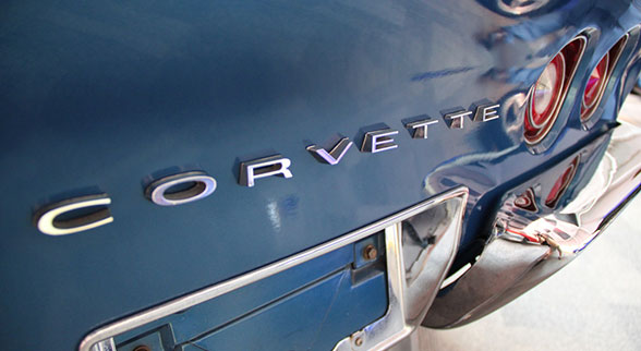 blue corvette closeup