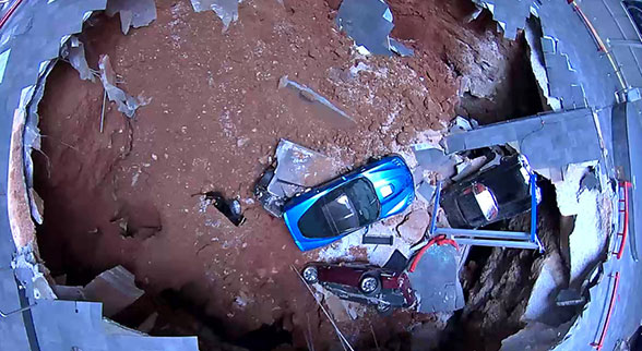 Corvettes in sinkhole from above