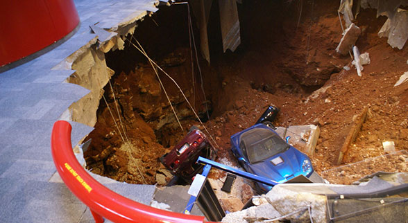 2009 Blue Devil ZR1 and 1993 40th Anniversary Corvette in sinkhole