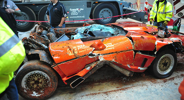 Wrecked corvette from sinkhole