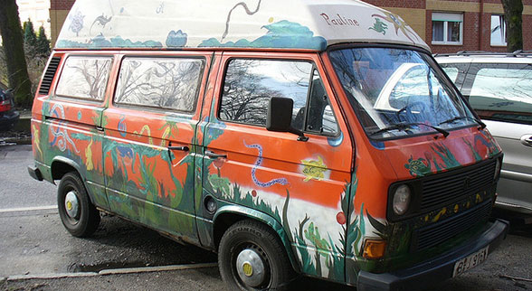 vw bus painted like a mural