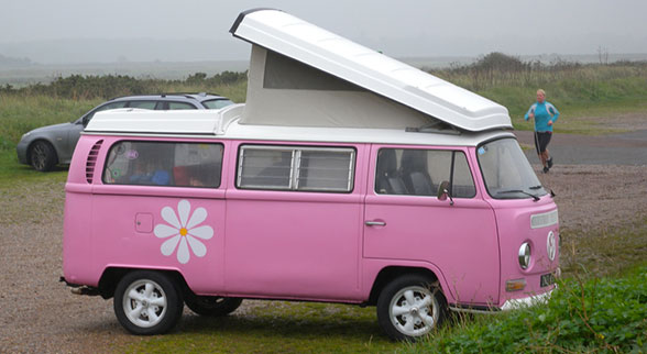 pink vw bus with a flower