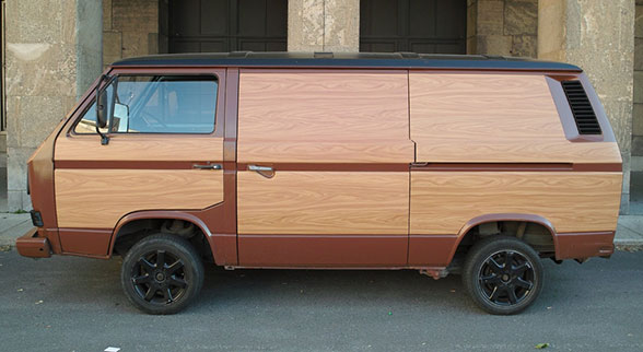 vw bus made of wood