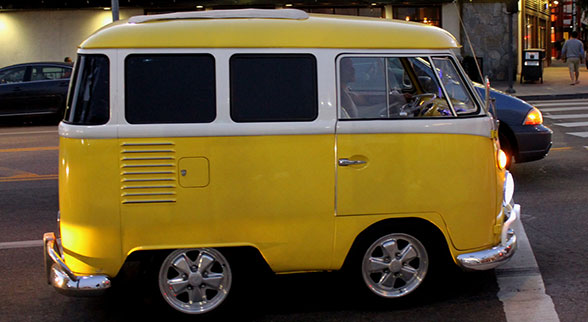 short yellow vw bus
