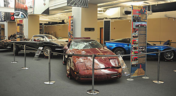 corvettes pulled from sinkhole on display