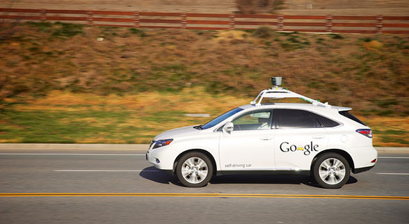 Google self driving car on the road