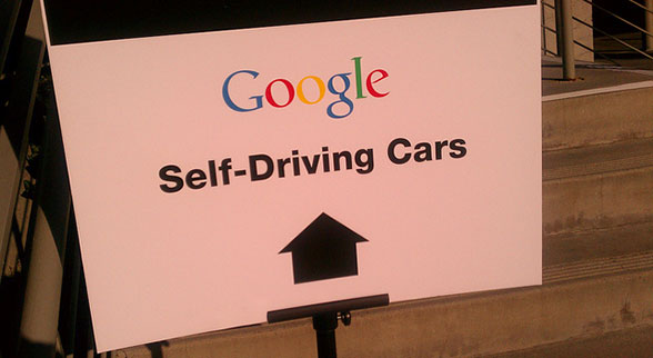 Google self driving cars sign