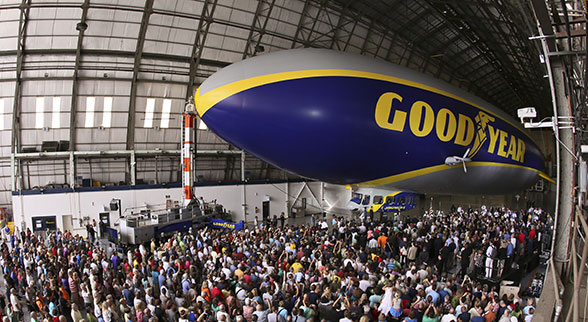 Goodyear blimp in hangar