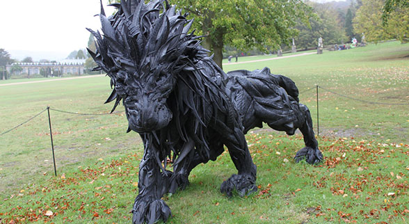 lion statue carved from car tires