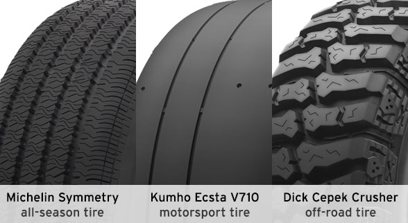 3 types of tread patterns