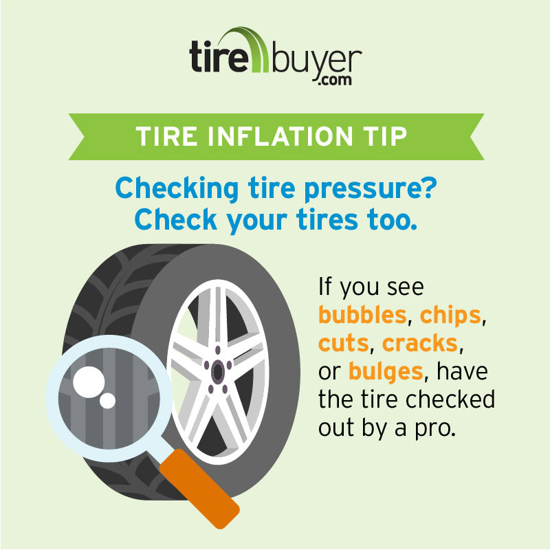 Check your tires for bubbles, chips, cuts, cracks, or bulges.