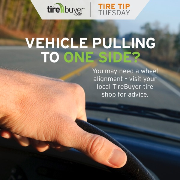 Vehicle pulling to one side? You may need a wheel alignment - visit your local TireBuyer tire shop for advice.
