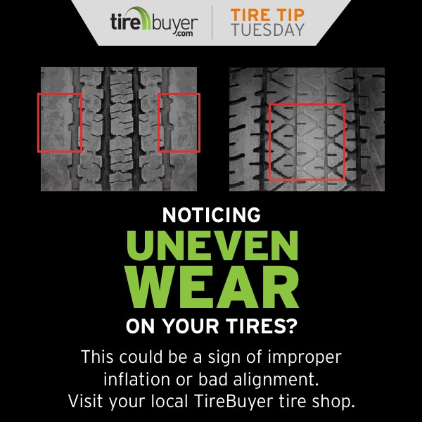 Noticing uneven wear on your tires? This could be a sign of improper inflation or bad alignment. Visit your local TireBuyer tire shop.