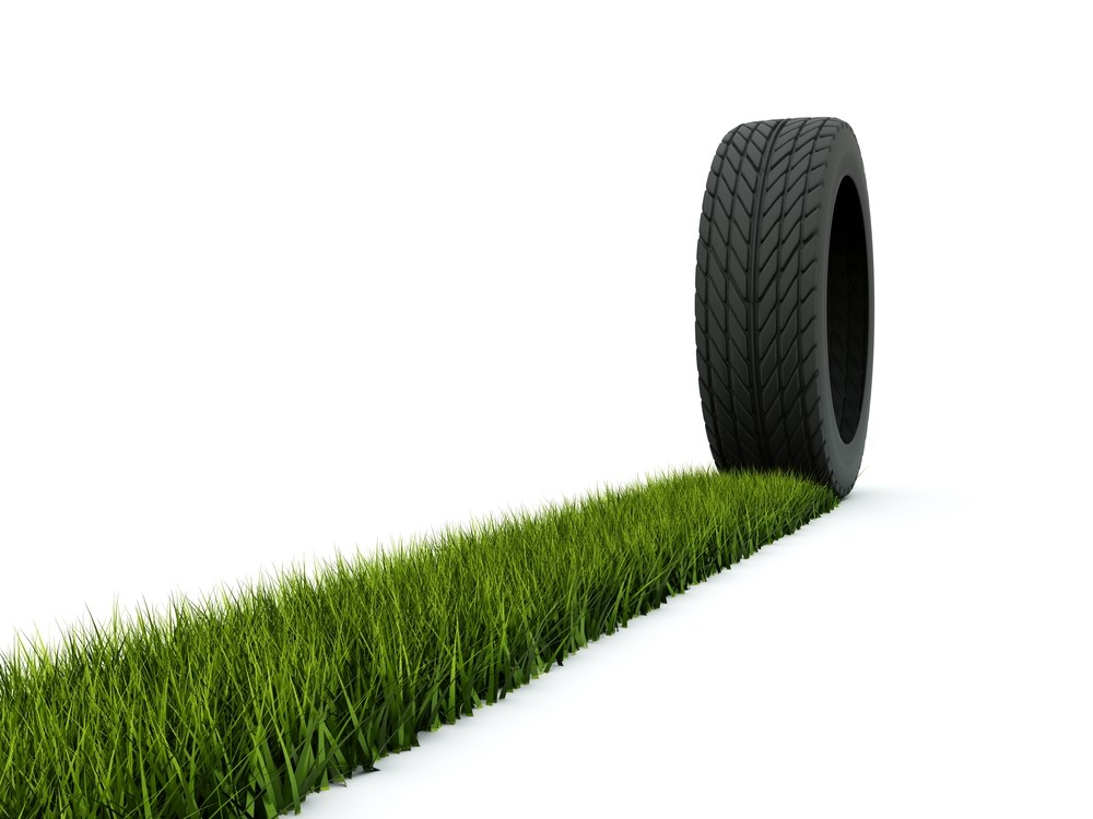 Tire Rolling in Grass