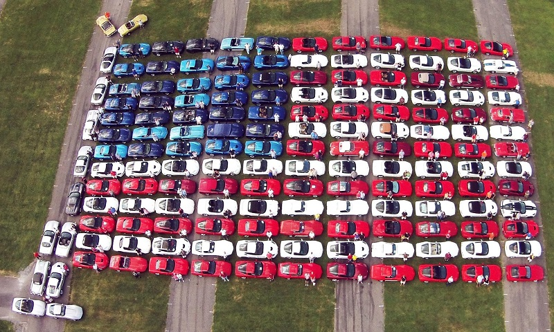 American Flag Of Red White And Blue Corvettes