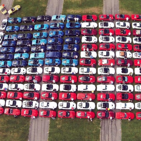 American flag of red, white and blue Corvettes