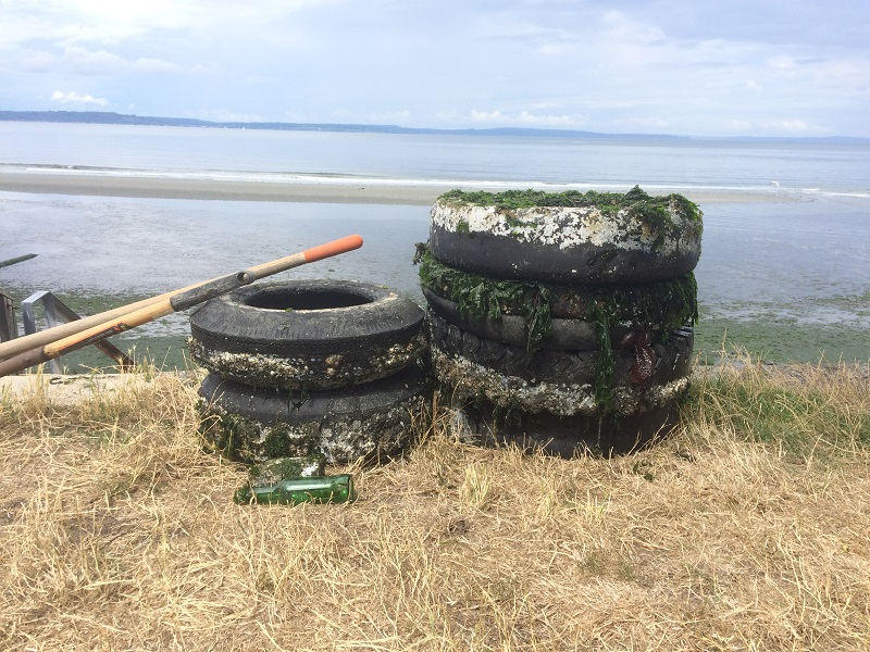 Six pieces of ugly rubber removed from the beach