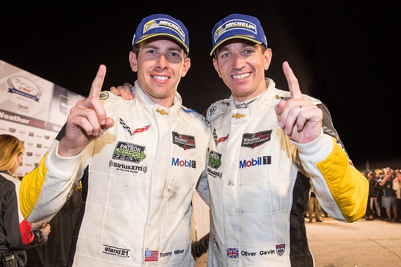 Tommy Milner (left) and Ollie Gavin let you know they're the GTLM Drivers Champions