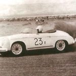 James Dean in his Porsche Speedster at Palm Springs Races in March 1955