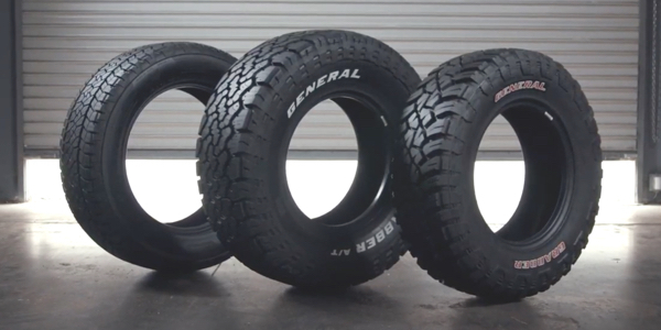 The three General Tire Grabber tires reviewed in the video are the Grabber APT all-purpose tire, the AT/X all-terrain tire, and the X3 mud-terrain tire. Watch the video to learn which is best for your truck or SUV.